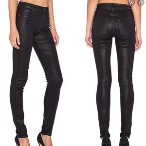 AGOLDE Black Coated Wax Skinny Jeans High Rise 27